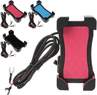Suporte de celular para motocicleta Hemobllo com carregador universal para celular retrovisor para guidão de motocicleta