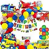 Globos Cumpleaños Decoracione de Niños, Feliz Cumpleaños Decoración Fiesta Cumpleaños Globo de Transporte, Avión Tren Autobú Embarcacion