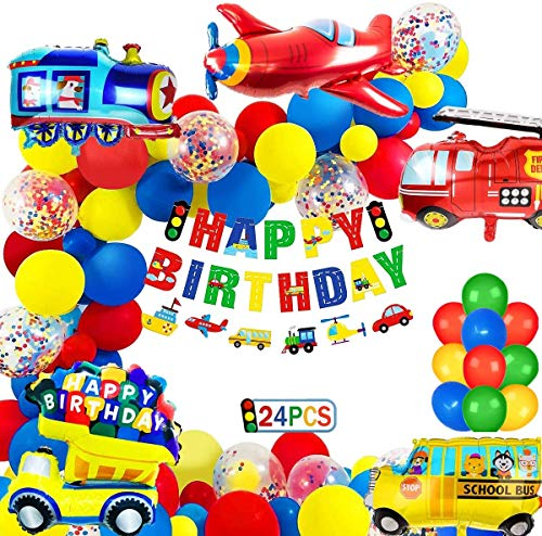 Globos Cumpleaños Decoracione de Niños, Feliz Cumpleaños Decoración Fiesta Cumpleaños Globo de Transporte, Avión Tren Coche de policía Autobús