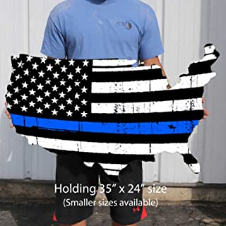 Surf To Summit Thin Blue Line Flag Plasma Cut Steel USA Sign Policeman Police Officer Support Vintage Decor Garage Wall Art Metal Sign Business Police Officer Retirement Gift (35