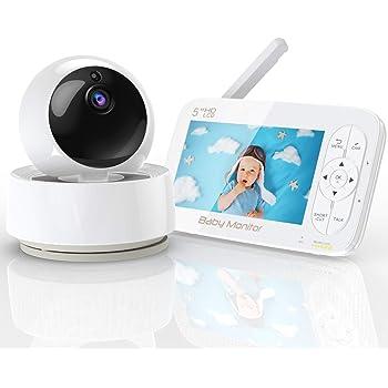 Babyphone mit Kamera, YUNDOO 720P HD 5 Zoll Baby Monitor Baby kamera 360 °Superweitwinkel,300M Reichweite, Nachtsicht, 2 x Zoom,Füttern Timer,Energiesparmodus,Temperatur & akustischer Alarm,Sprachchat