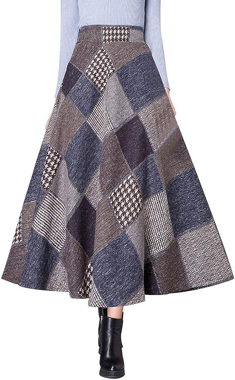 Daxvens Long Wool Plaid Skirt with Pocket Women Elastic Waist A-Line Maxi Checkered Tartan Flare Winter Skirt