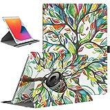 TiMOVO Hülle für Neu iPad 9. Gen 2021 / iPad 8. Gen 2020/7. Gen 2020 10,2 Zoll, 360 Grad Drehung Schutzhülle Drehbar Ständer Magnetisch für Auto Schlaf/Wach - Glück Baum