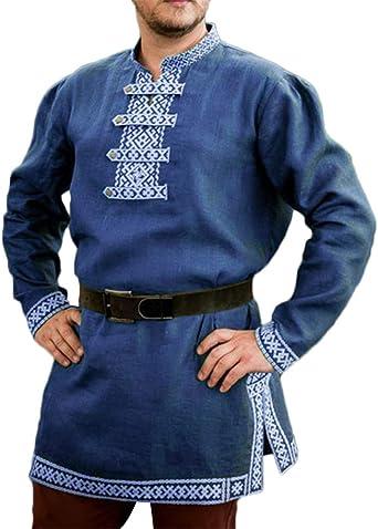 Hombres Tunica Medieval Manga Larga Impresión Camisa Sin Cinturón
