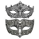 Couples Venetian Laser Cut Masquerade Mask,Halloween Mardi Gras Party Mask (Black & black)