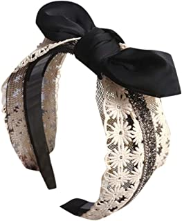 general3 Women Crystal Hairbands Lace Mesh Hollow Out Diamante Fabric Head Wrap Headband Hair Accessories