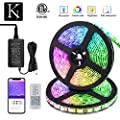 KORJO Dream Color LED Strip Lights, 32.8ft/10M Bluetooth LED Chasing Light with APP, Waterproof 12V 300 LEDs 5050 RGB Color Changing Rope Light Kit, Flexible Led Strip Lighting for Home Kitchen