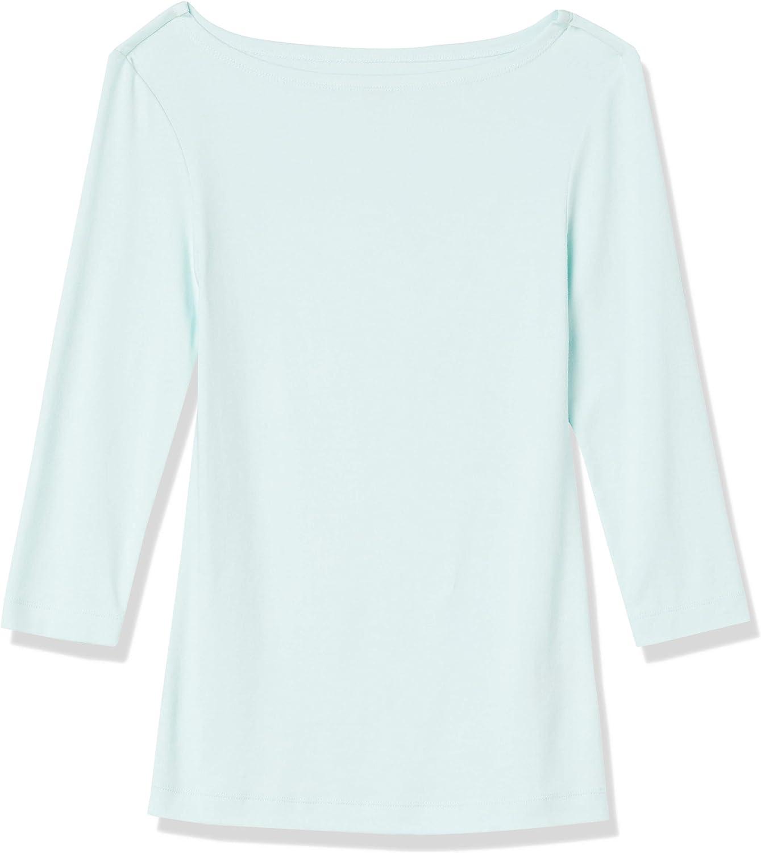 Essentials Womens Slim-Fit 3//4 Sleeve Solid Boatneck T-Shirt