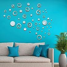 CUNYA - Adhesivos decorativos de pared de acrílico 3D con espejo redondo para decorar la pared, para ventana, sala de estar, cuarto de baño