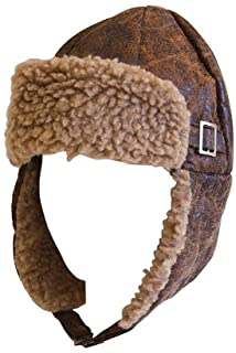 Aviator Pilot Cap Adult Hat Brown with Buckle
