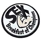 CAR087T Sex Breakfast Champions Embroidered Patch Iron or Sew to Kart Suit Race 2.95 × 2.95 in