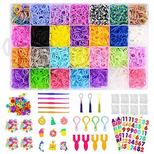 ZOOYAUE Loom Bänder Kit DIY Armbänder Set 10,000pcs Loom Bands DIY Freundschaftsarmbänder Halsketten Kunsthandwerks-Set für Mädchen Kinder
