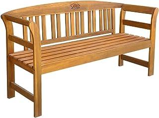 vidaXL Solid Acacia Wood Garden Bench Weather Resistant Slatted Design Outdoor Lounge Seat Backyard Armchairs Patio Furnit...