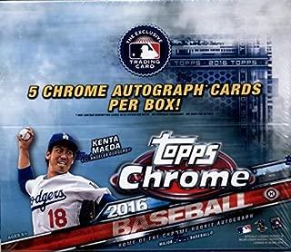 2016 Topps Chrome Baseball Hobby Jumbo Box (12 Packs of 13 Cards; including 5 Autographs)