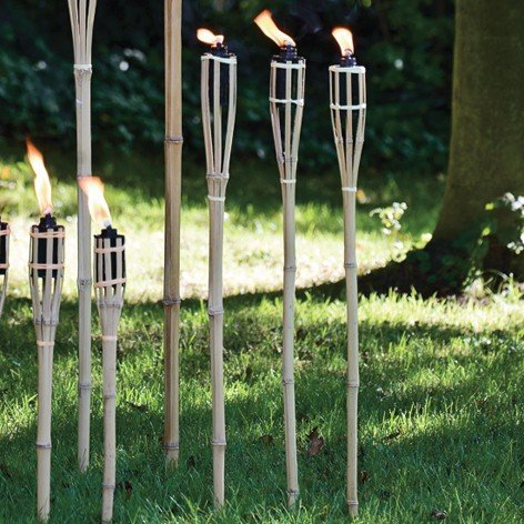 """Bamboo Tiki-Style Torches - Set of 12 - 48"""" Length - Metal Oil Canister"""