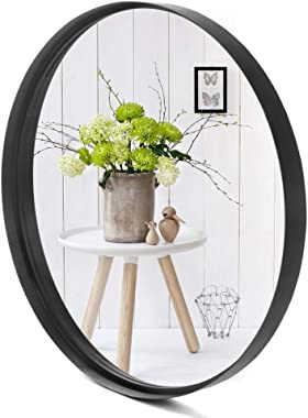VINGLI 24-inch Black Round Wall Mirror, Metal Framed Round Wall Mounted Decorative Mirror, Modern and Contemporary Decor for