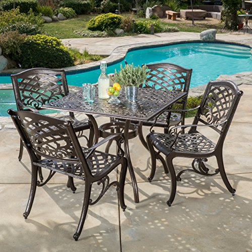 Christopher Knight Home Hallandale Outdoor Sarasota Cast Aluminum Square Dining Set, 5-Pcs Set, Hammered Bronze