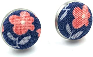 Handmade in Canada - Floral Fabric Stud Earrings - Surgical Stainless Steel - Hypoallergenic Button Cover Studs - Navy Blu...