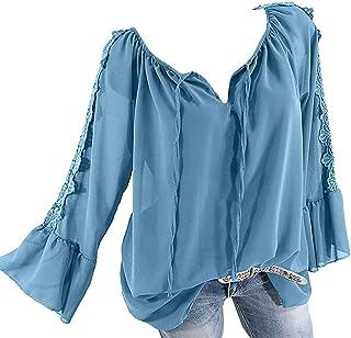 3c29c257f7 Plus Size Blouse Women Slash Neck Long Sleeves Pure Color Lace Splicing Tops