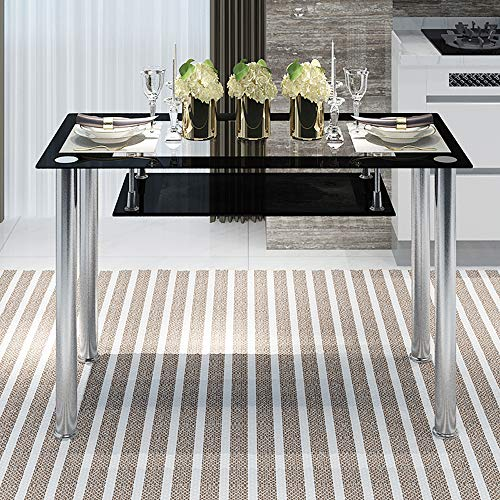 nozama Black Glass Dining Table for 6 People Rectangle Glass Kitchen Table with Chrome Legs and Shelf (Black_2 Tier)