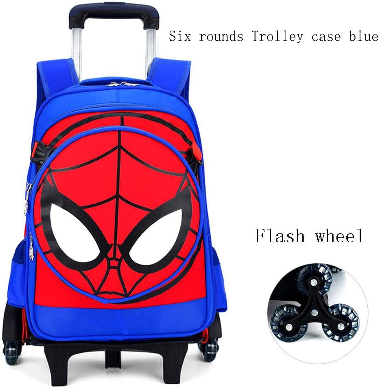 HFSK Trolley-Rucksack Mit Rdern - Spiderman Boy Abnehmbare Schultasche Wasserdichter Mehrzweckrucksack Für Schüler Im Freien (2 Rder   6 Rder) Blau-Six-wheele Trolley case(Flash Wheel)
