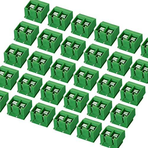 massmall 30Pieces 2 Pin 5mm Pitch PCB Mount Screw Terminal Block Connector 250V 8A(Green)