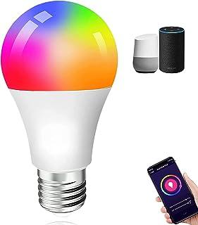 Bombilla Inteligente WiFi,10W E27 Focos Inteligentes,16 Millones De Colores+Foco WiFi Súper Brillante Luz Cálida / Fría,Co...