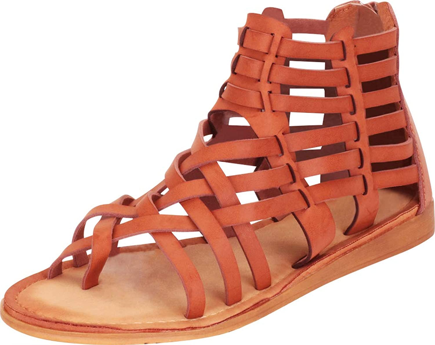 Cambridge Select Women's Thong Toe Caged Strappy Cutout Ankle Gladiatior Sandal
