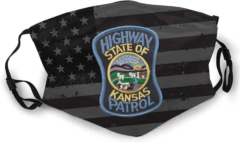 Unisex Face Mask Kansas Highway Patrol Masks Double-Sided Printing Washable Reusable Balaclava Black