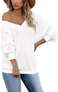 COCOLEGGINGS Women's V-Neck Long Sleeve Waffle Knit T-Shirt Off The Shoulder Tops