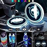 ZLDM Auto Led Untersetzer, Auto Cup Led, Auto Lichter, Auto Led Innenbeleuchtung 7 Farben und 3 Modi des USB-ladens Led Untersetzer für Die Innenraumdekoration Achterbahn Zubehör Atmosphäre Licht