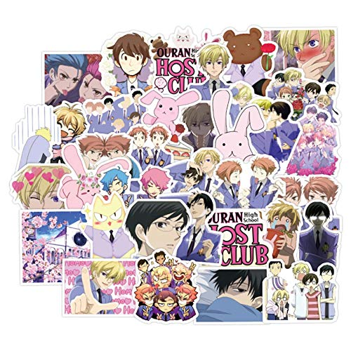 Yhrhredfjh Ouran - Juego de 50 pegatinas de anime para la escuela secundaria, diseño de graffiti de dibujos animados para portátil, monopatín, botellas de agua