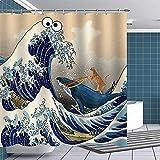 Lustige Tiere Duschvorhang Katze reitet Wal, um Muster zu bekämpfen Wasserdichtes Badezimmerdekor in Mehreren Größen mit Haken Badezimmervorhang-13_90x150cm