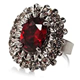 Ring Cocktail Kristall CZ Schnitt Oval Rot Hot (Dein Geld)