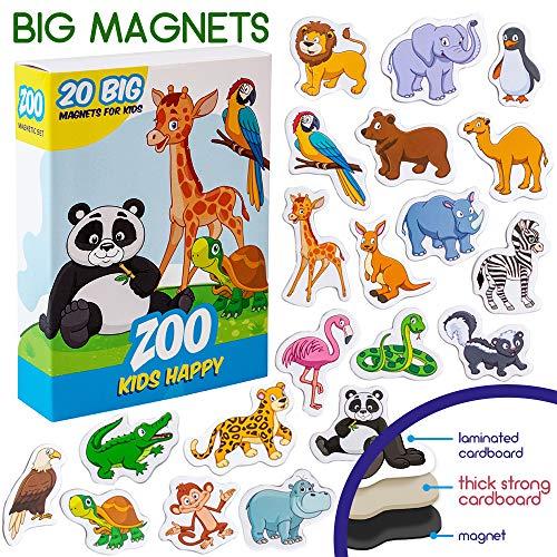 MAGDUM Imanes Animales Zoo de Pizarra Infantil para niños - Imanes Nevera Grandes - Juguetes EDUCATIVOS bebé 3 años - Imanes Pizarra magnética para Aprender - Teatro de imán Animales de la Jungla