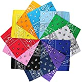 8. LM 12Pcs Bandanas 100% Cotton Paisley Print Head Wrap Scarf Wristband (Multi Color)