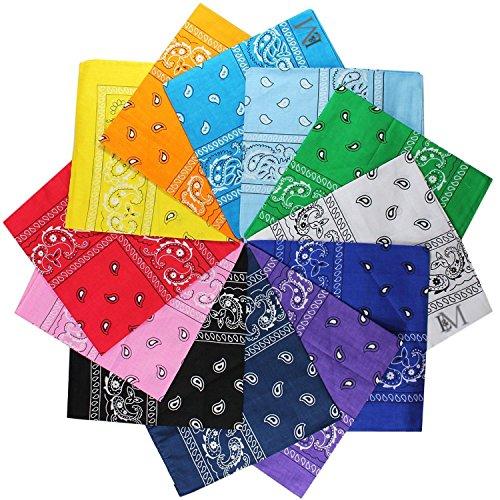 LM 12Pcs Bandanas 100% Cotton Paisley Print Head Wrap Scarf Wristband (Multi Color)