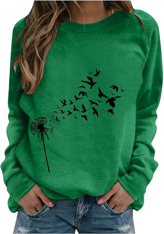 Hotkey Sweatshirts for Women, Womens Sweatshirt O-Neck Long Sleeve Tops Moon Butterfly Print Pullover Casual Loose Top Blouse