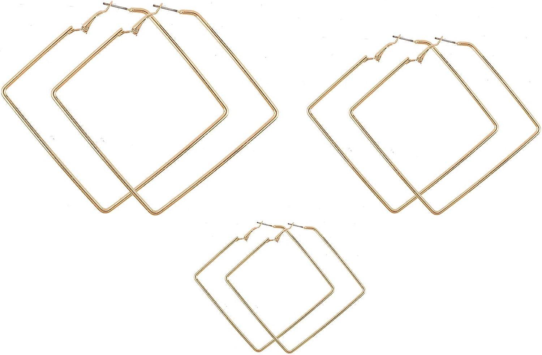 Square Hoop Detroit Mall Earrings 3 Earr Geometric Surprise price Pairs Dangle