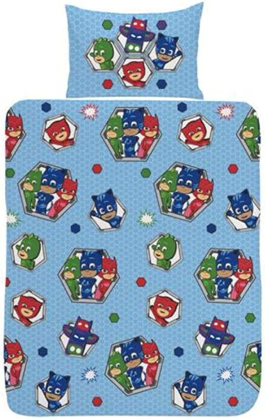 PJ Masks Badges Junior - Juego de Funda nórdica (poliéster-algodón), Color Azul