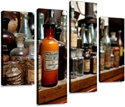 Bottles of Ingredients for Pharmacy Canvas Wall Art Painting Pictures Modern Artwork Framed Posters for Living Room Ready to Hang Home Decor 4PANEL