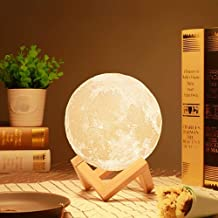 RYLAN 3D USB Rechargeable Moon Lamp Color Changing Sensor Touch Decoration Crystal Ball Night Lamp with Wooden Stand, Bedroom Lamp, Night Lamp For Bedroom, Bedroom Lamp For Kids, Bedroom Lamps For Night (13CM)