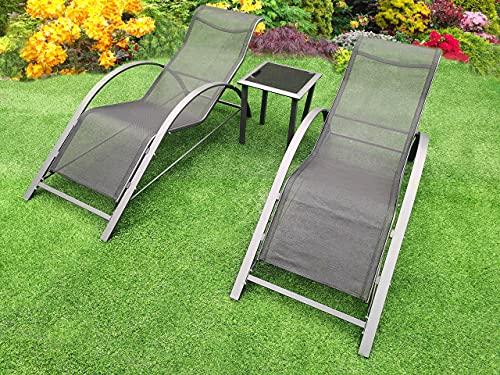 garden mile 3-teiliges Gartenmöbel-Set, 2 Lounge-Stühle und 1 Couchtisch, Outdoor-Stühle mit Beistelltisch, Loungesitz für 2-Sitzer