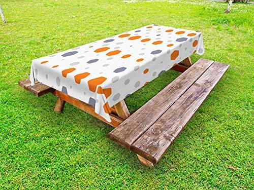 ABAKUHAUS meetkundig Tafelkleed voor Buitengebruik, Abstract Hexagons Patroon, Decoratief Wasbaar Tafelkleed voor Picknicktafel, 58 x 104 cm, Orange Gray Pale Grey