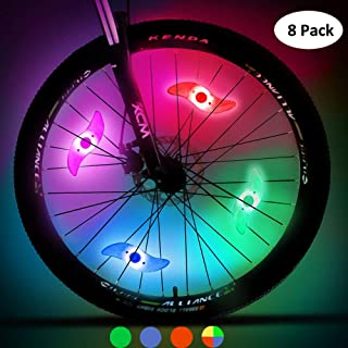 UCOFFEE Bike Spoke Lights, 8pcs Cycling Bicycle Wheel Lights with 3 LED Flash Modes for Bike Spoke Decoration and Tire Bike Safety Alarm Light, Waterproof- Batteries Included