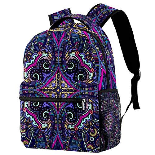 Mandala Purple Psychedelic Owl Backpack for Teens School Book Bags Travel Casual Daypack