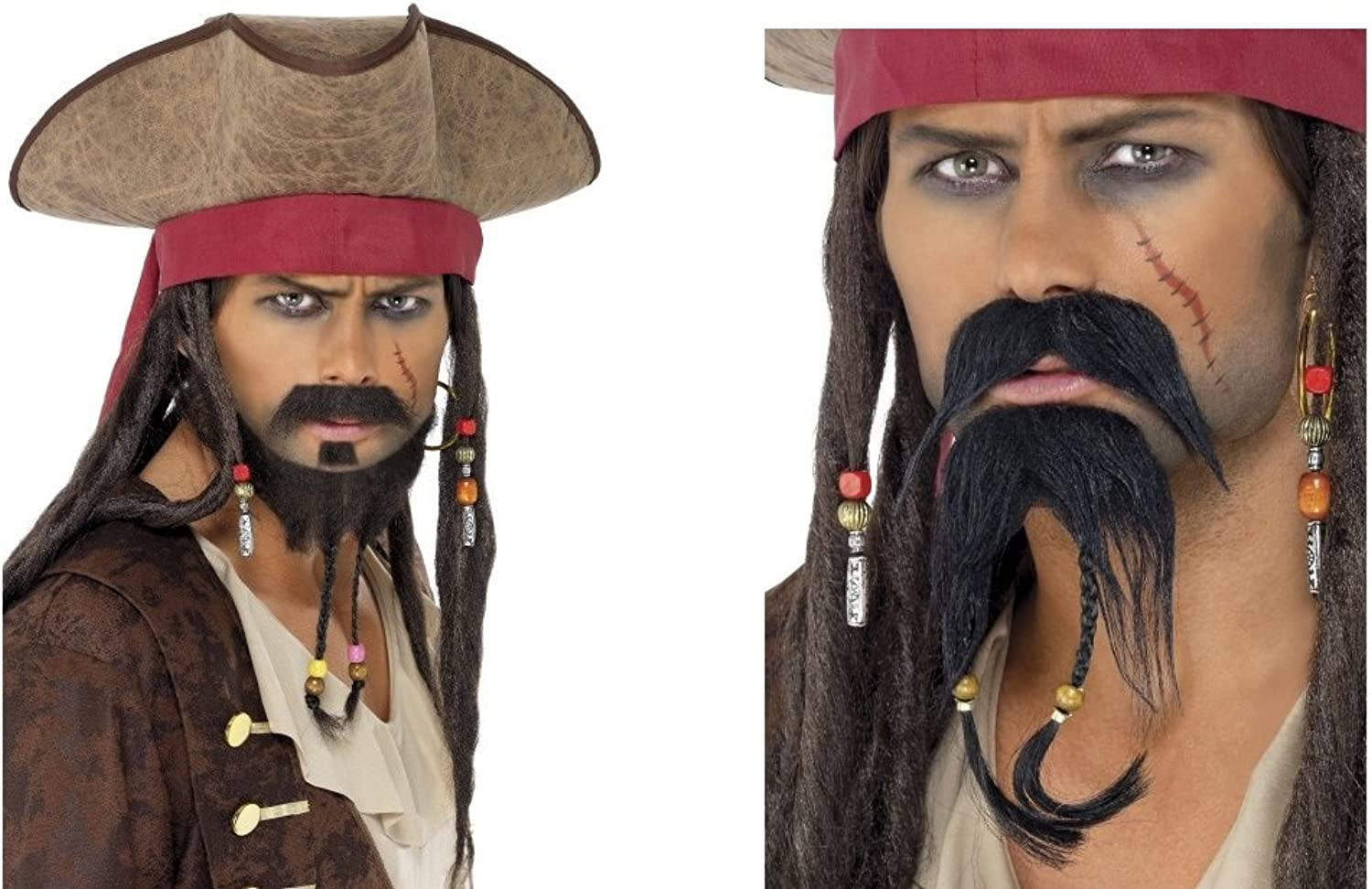 2pc Pirate Hat and Facial Hair Set braun Adult Fancy Dress Accessory Kit Jack Sparrow Pirates of Caribbean Buccaneer B07CSS2FZW Am praktischsten  | Ästhetisches Aussehen