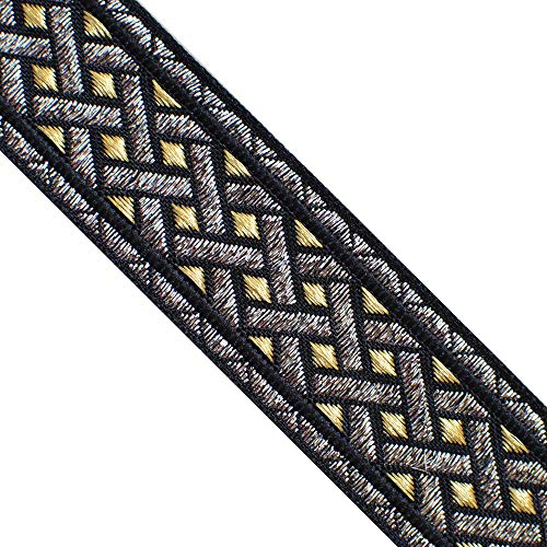 JL 412 Jacquard Metallic Silver Gold Black Celtic Ribbon Trim 1-3/8' (35mm) 5 Yards DIY for Sewing Crafting Home Decor, Wedding, Gift Wrapping hat Bands