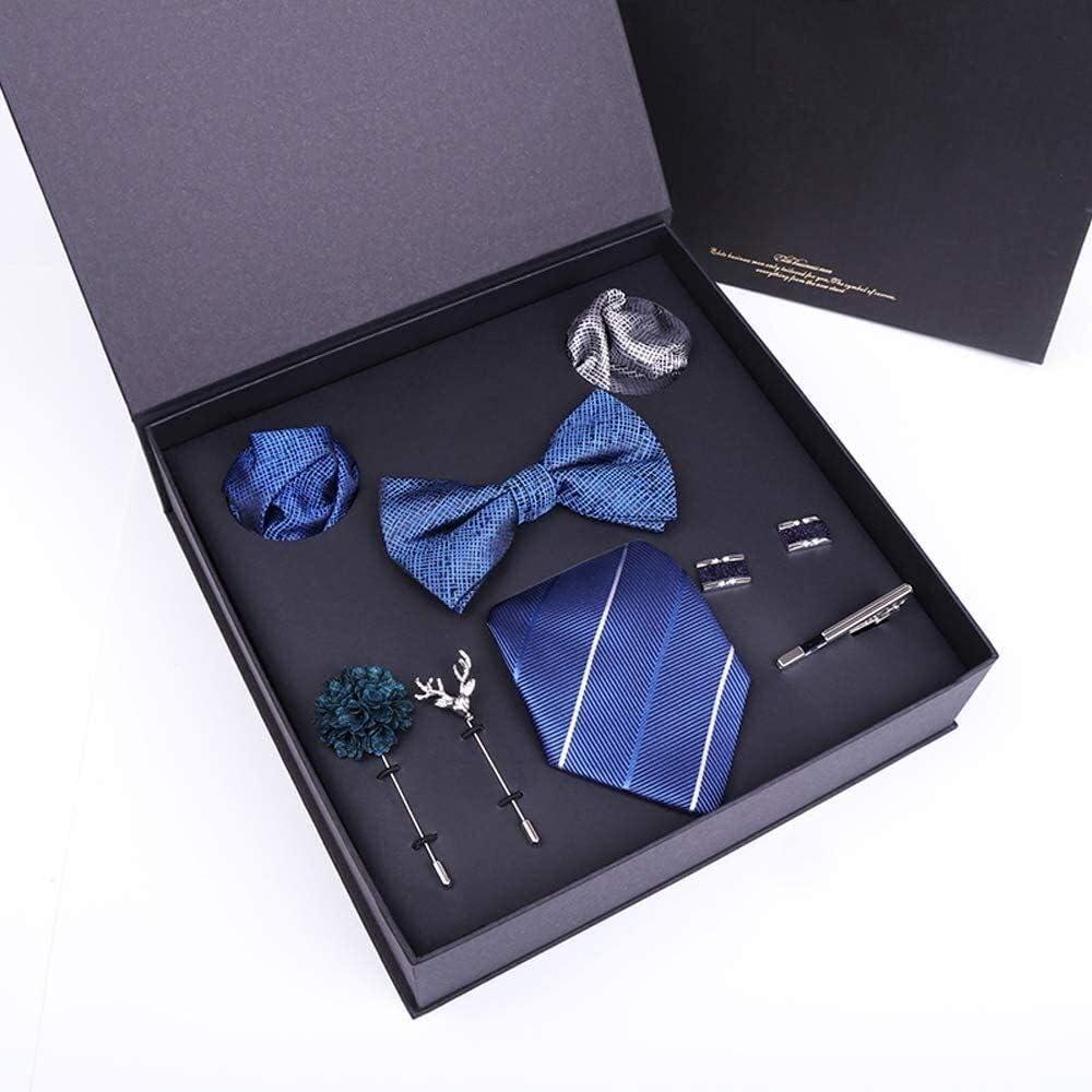 WYKDL Tie Set in a Gift Box Tie Sets Color Neck tie Satin Bow tie Pocket Square Lapel Cuffs Link