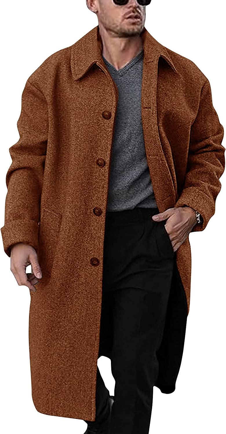 PASLTER Men's Trench Coat Single Breasted Business Cotton Long Overcoat Winter Warm Fashion Topcoats